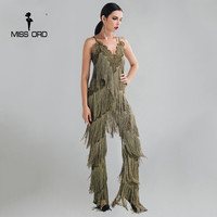 MISSORD 2016 Sexy Sleeveless V NECK Halter Lace Tassel Jumpsuits FT4661 2