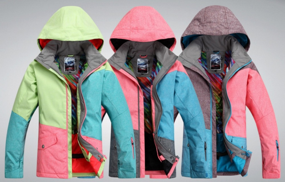 2016 womens color matching ski jacket blue pink gray snowboarding jackets skiing jacket for women anorak skiwear 10K XS-L lole капри lsw1349 lively capris xs blue corn
