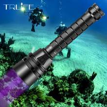25000Lums 5UV Light LED White Light Underwater 220M Scuba Diving Flashlight Aluminum UV Torch 395nm for Diving,Outdoor use 18650(China)