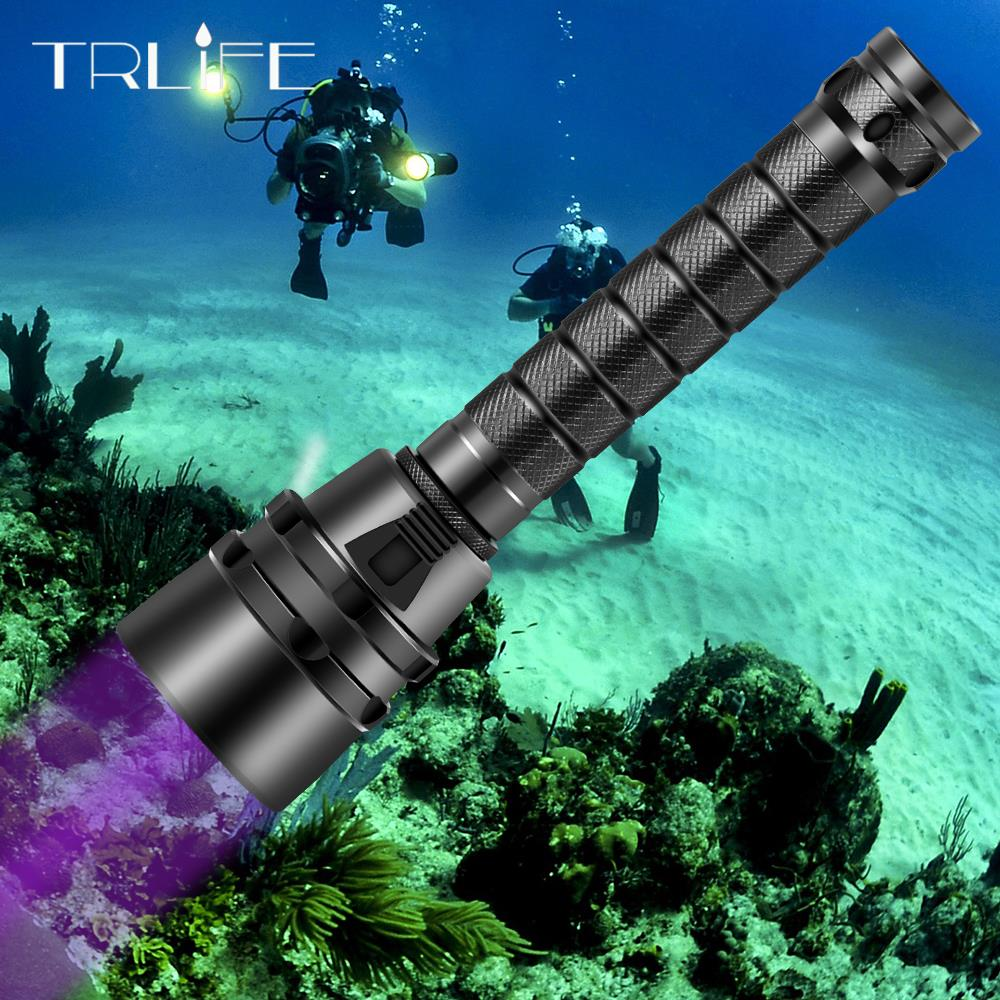 UV Professional LED Diving Flashlight 5UV/L2 White Light Underwater 220M Scuba Diving Torch 395nm For Diving,Outdoor,Camping
