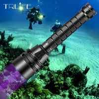 UV Professionelle LED tauchen Taschenlampe 5UV/L2 Weiß Licht Unterwasser 220M Scuba Tauchen Taschenlampe 395nm für Tauchen, outdoor, Camping