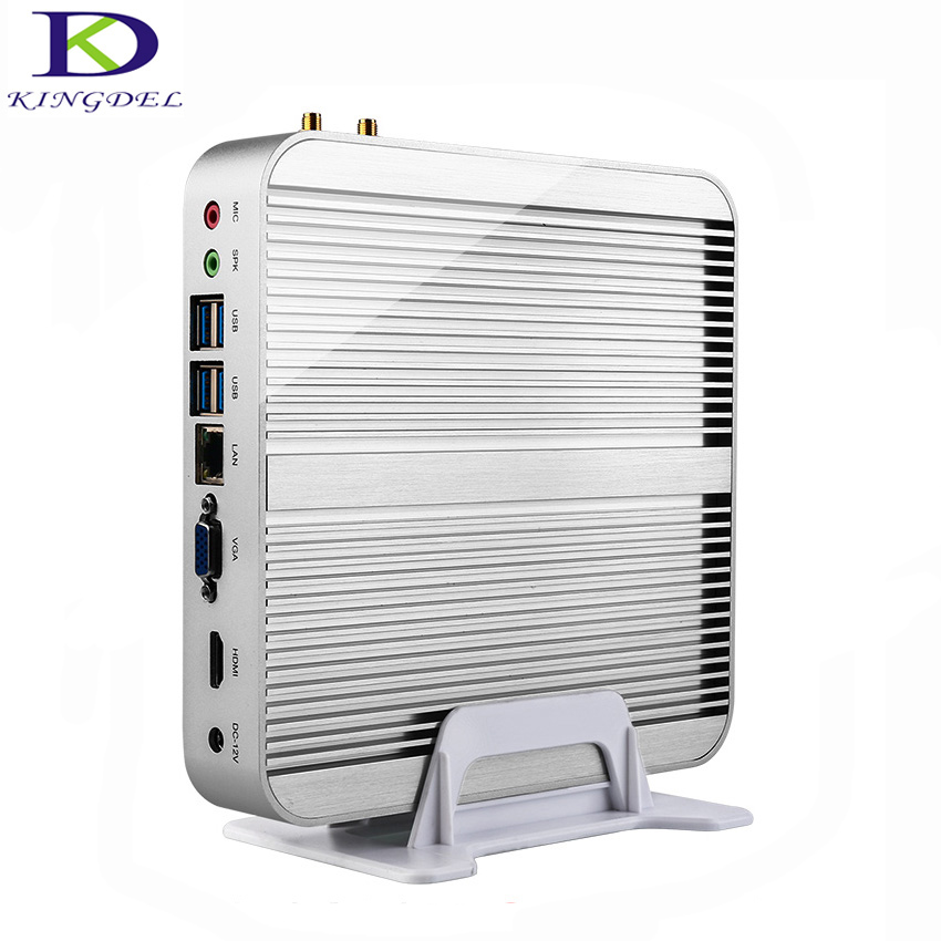 2017 Cheapest Fanless mini PC barebone Intel Core i7 5550U Dual Core up to 3 0GHz