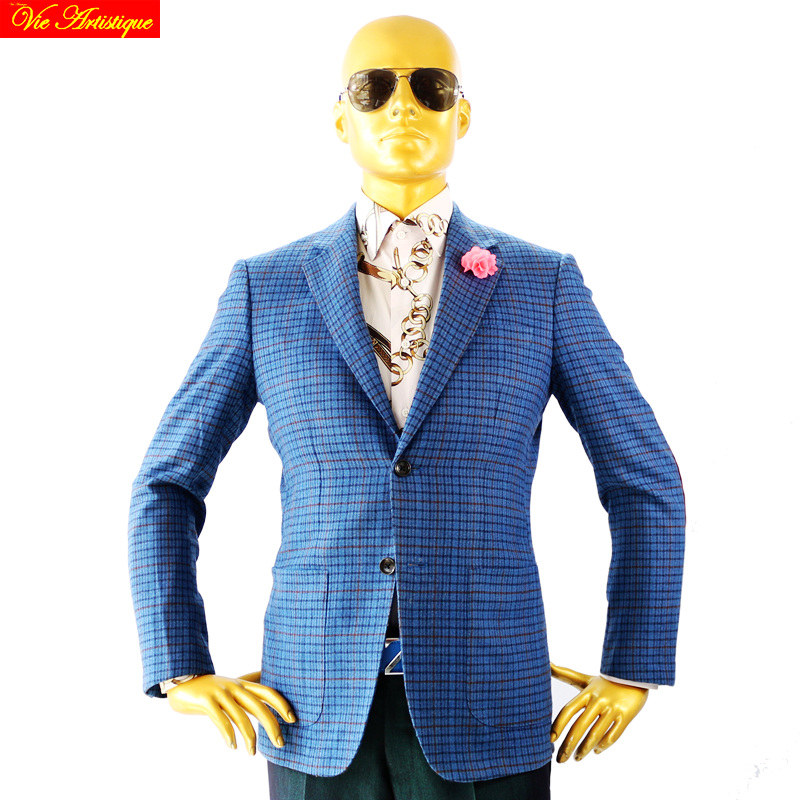 Custom Tailor Made Men's Bespoke Suits Business Formal Wedding Ware Bespoke 2 Piece (Jacket+Pants) Blue Plaid Wool Slim Fit 2019