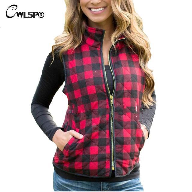 be280d2e5b9 2017 Slim Women Red Plaid Vest Zipper Pockets Wild Fashion Top Quality  Spring Autumn Women Waistcoat Sleeveless
