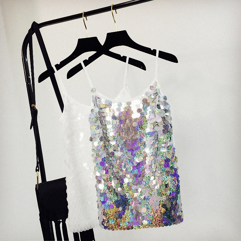 Spaghetti Straps Tops Sexy Slim Vest Tank Tops Women Sequin Summer Tops Sexy Backless Camis Solid Sequins Silver Tops