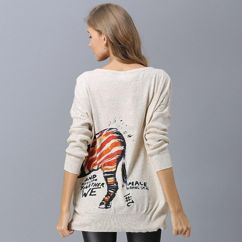 1 2 Taille La Tricot Lady Pulls Long Drop Cheval Chandails Lâche Imprimé En Femmes Streetwear Chandail Ship Élégant Plus Conception SUd5xHwqx