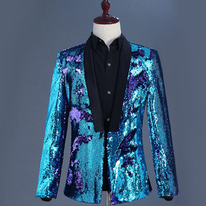 Image 5 - Mens Flipping Sequins Blazers Jackets Singer DJ Costumes Men Blue Green Paillette Suits Homme Stage Prom Dance Nightclub Outfit