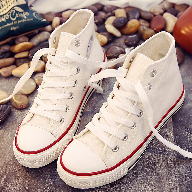 High Top Sneakers For Women Canvas Shoes Autumn Vulcanized Shoes Big Size 4.5-11 Classic Lady Shoes Women's Sneakers 2019