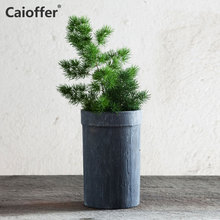 Caioffer Ceramic Pot Surface Stripe Texture Simple Durable Planter Flowerpot With Hole At The Bottom Mini Small Bonsai 15*9.5cm недорого