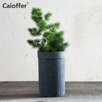 Caioffer Ceramic Pot Surface Stripe Texture Simple Durable Planter Flowerpot With Hole At The Bottom Mini Small Bonsai 15*9.5cm