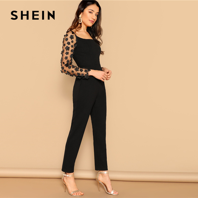 SHEIN Black Sexy Mesh Flower Appliques Sleeve Square Neck Jumpsuit Women Mid Waist Skinny Spring High Street Solid Jumpsuits 2