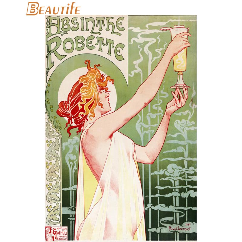 Hot Sale Custom Absinthe Poster Art Nouveau Poster Home Decoration Fashion Silk Fabric Wall Poster Custom Poster