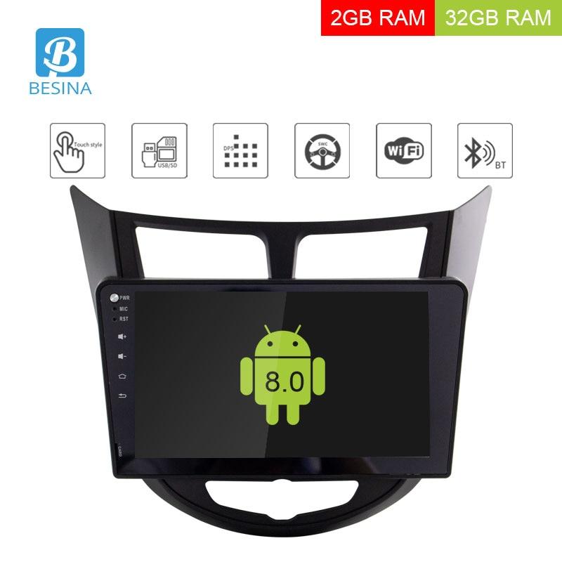 Besina 10.1 pollice Android 8.0 Car multimedia Player Per Hyundai Solaris Verna Accent 2011-2015 di Navigazione GPS Audio Radio stereo