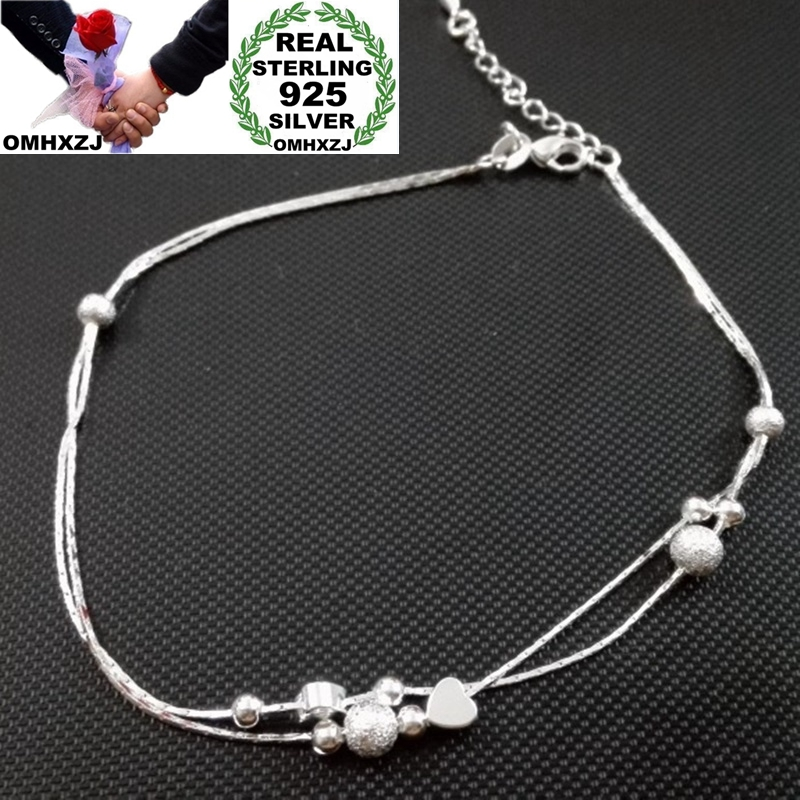 OMHXZJ Wholesale European Fashion Woman Girl Party Birthday Wedding Gift Two Layers Heart Ball 925 Sterling Silver Anklet JA07