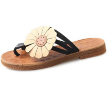 49ebe9b384bc62 2018 New Sunflower Design Women Flip Flops Summer Flat Slippers Comfortable  Slides Outside Beach Sandals Women