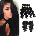 Queen Hair Brazilian Body Wave With Closure 8A 4 Bundles With Closure Body Wave Brazilian Hair Weave Bundles With Closure Deals