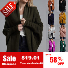 f70f1cec12 Oversized Women 2018 Autumn Winter Knitted Cardigans Sweaters Batwing  Sleeve Long Cardigan Coat Female Casual Loose Warm Sweater