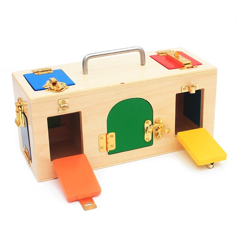 Montessori materiales práctica vida juguete caja de bloqueo abrir la llave de bloqueo Juguetes Educativos de madera para niños habilidades básicas y de vida juguete
