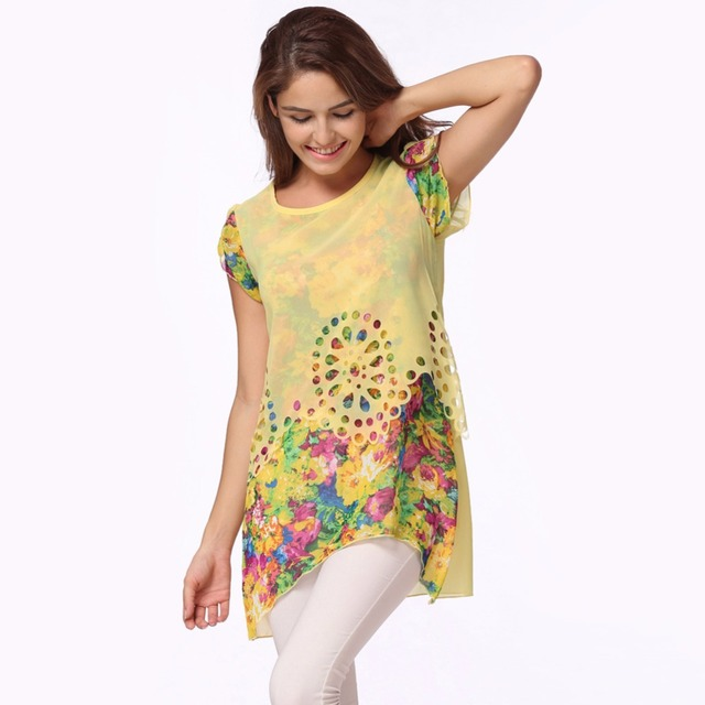 d8d26ba34b14 Verano de 2019 de las mujeres de gasa blusas Floral blusa huecos  superposición pétalo mangas para