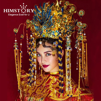HIMSTORY Exaggerated Gorgeous Handmade Headdress Phoenix Coronet Stage Chinese Vintage Style Hair Accessories