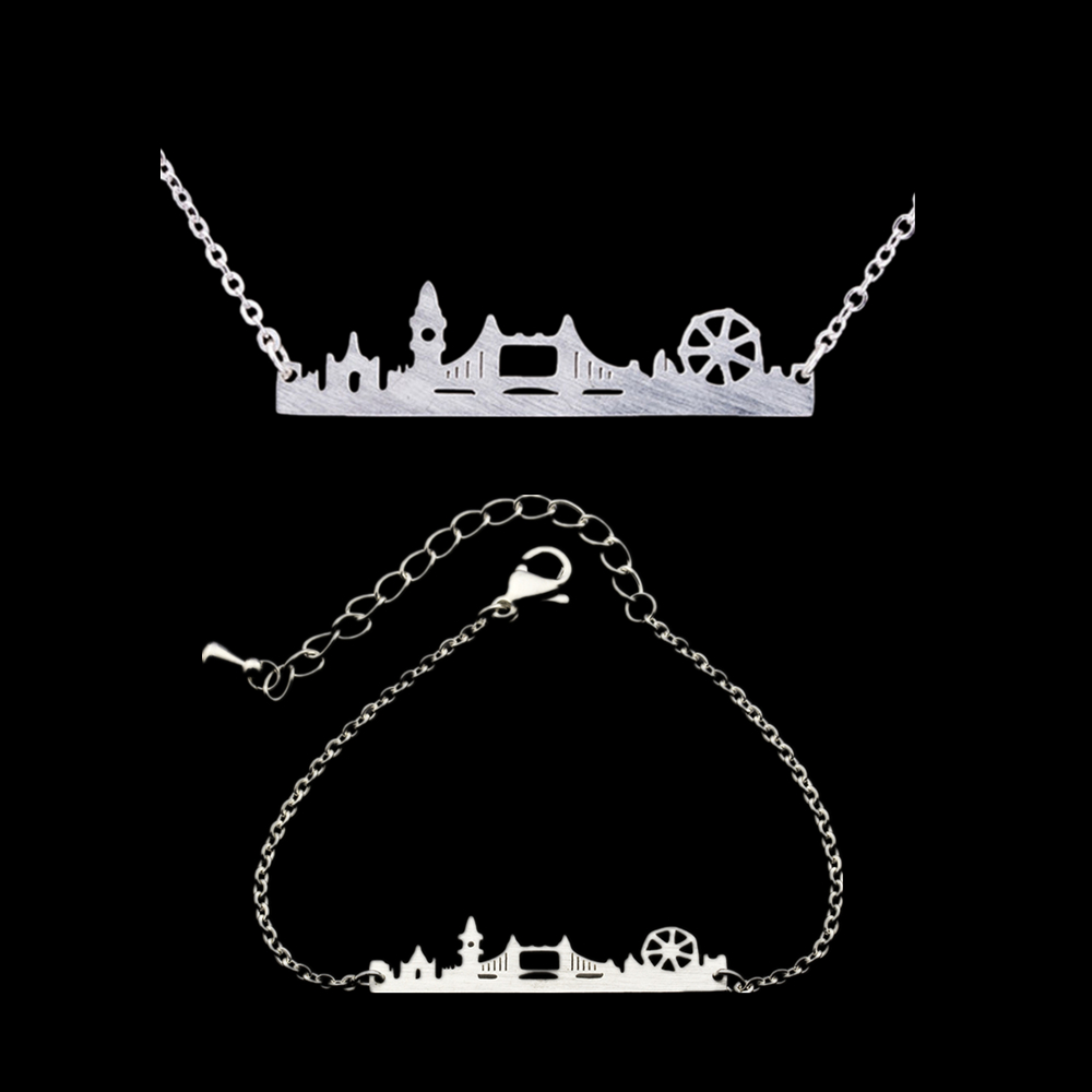 Wholesale London City Skyline Metal Bar Charm Bracelet Women Pendant Necklace Sets Steel Steampunk Souvenirs Chain Jewelry Sets