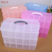 Freies verschiffen multifunktions große drei-schicht abnehmbaren plastik aufbewahrungsbox kosmetik schmuckschatulle aufbewahrungsbox