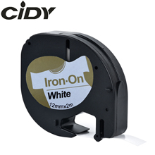 CIDY for Dymo LT 18769 18771 18768 18770  Fabric Iron-on black on white 12mm*2m compatible Letratag 91201 Tape LT-100H