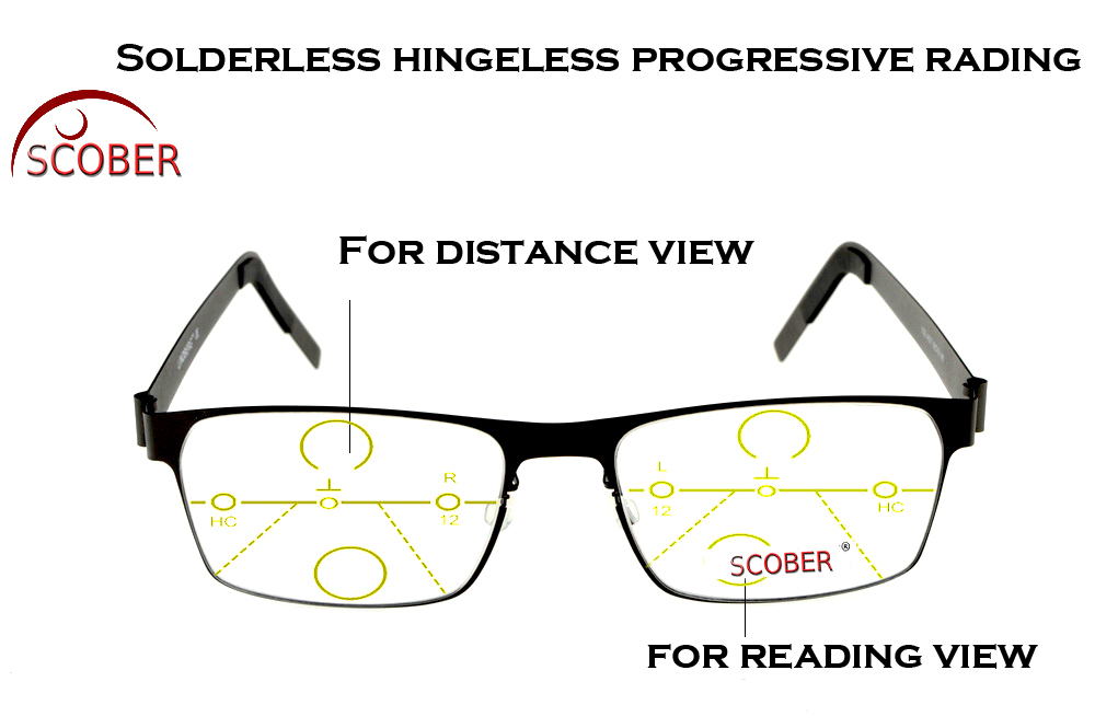 = SCOBER = Progressive Multifocal Reading Glasses Designer No welding stainless steel See Near And Far TOP 0 ADD +1 To +4