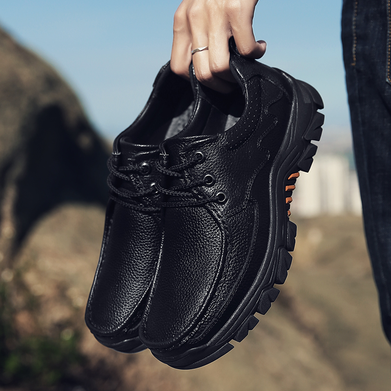 New Brand Men Genuine Leather Shoes Oxfords Classic Black Trekking Comfortable Breathable Outdoor Hiking Shoes Big Size LoafersNew Brand Men Genuine Leather Shoes Oxfords Classic Black Trekking Comfortable Breathable Outdoor Hiking Shoes Big Size Loafers
