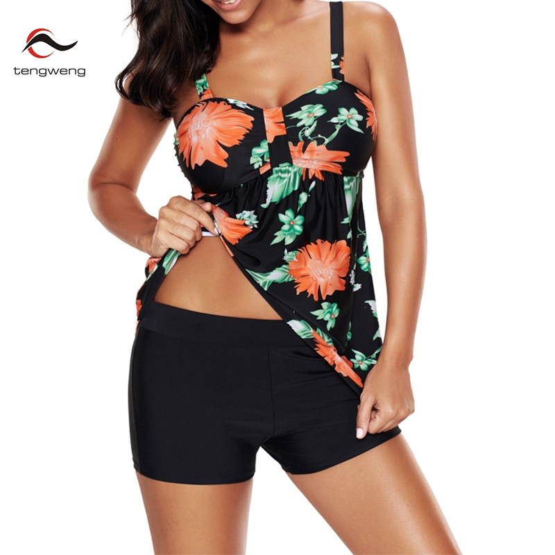 2018 New Sexy Floral Print Women Tankini Swimwear Two Piece Plus size Swimsuit Shorts Push up Female Bathingsuit Skirt Beach 4XL sexy scoop neck geometric print plus size two piece swimsuit for women