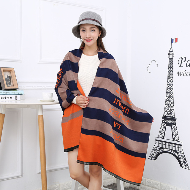 Striped 3 Colors Thicken Warm Winter Scarf Luxury Brand Ladies Scarves Shawls and Scarves Imitation Cashmere Scarf 300g 190*65cm