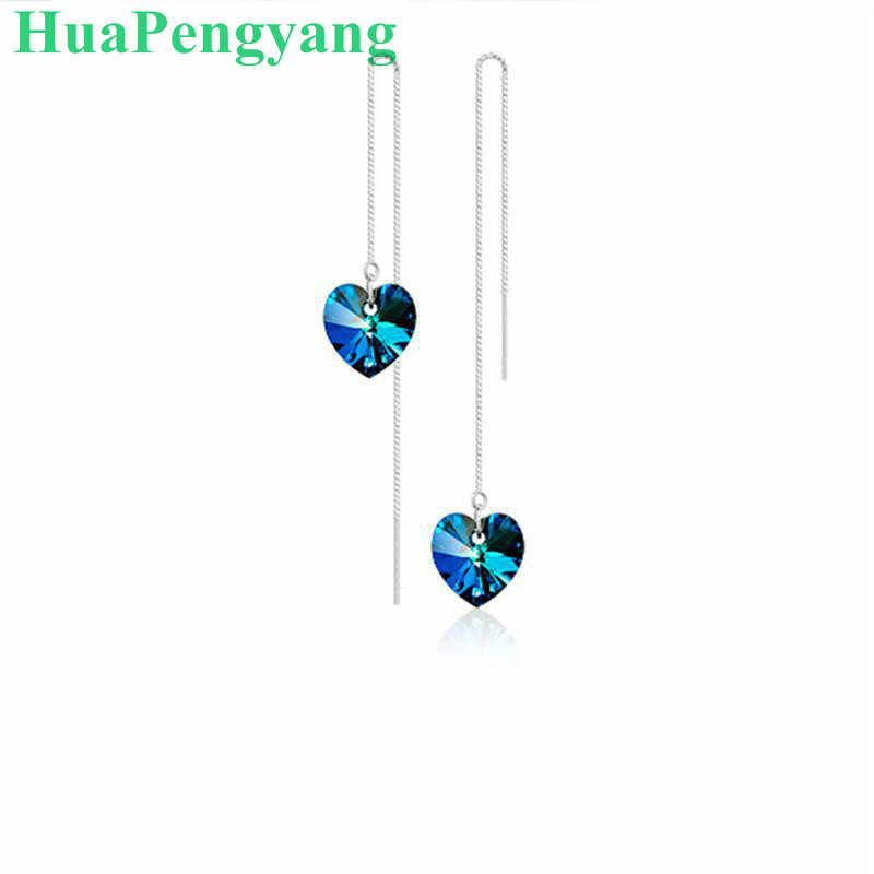 New Korean Fashion Ear Line Creative Heart Of The Sea Crystal Female Earrings Anti-allergic High-grade Earrings Wholesale
