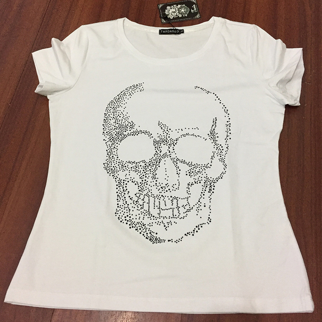 New Brand Womens White Skull T-Shirts with Rhinestones Punk style short  sleeve Womens Diamonds Shirts Crystal Bling Top Tees 70d14966b