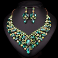Fashion Gold Plated Crystal Necklace Earring Bridal Jewelry Sets For Brides Wedding Party Prom Decoration Gift Women LC00483
