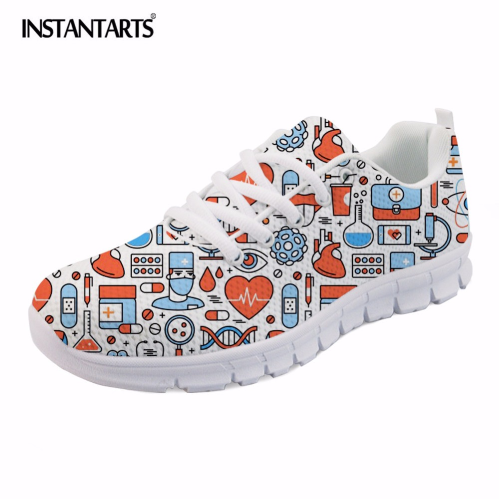 INSTANTARTS Fashion Woman Flats Shoes Cute Cartoon Nurse Print Teen Girl Summer Sneakers Breathable Comfortable Lace-up Footwear instantarts fashion women flats cute cartoon dental equipment pattern pink sneakers woman breathable comfortable mesh flat shoes