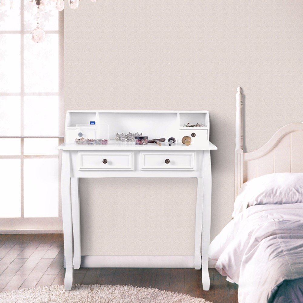 langria makeup dressing table vanity with 4 drawers 3 open storage and solid rubberwood legs