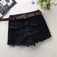 New 2018 Summer Jeans Skirt Women High Waist Button Denim Skirts Female Mini Saia Washed Faldas