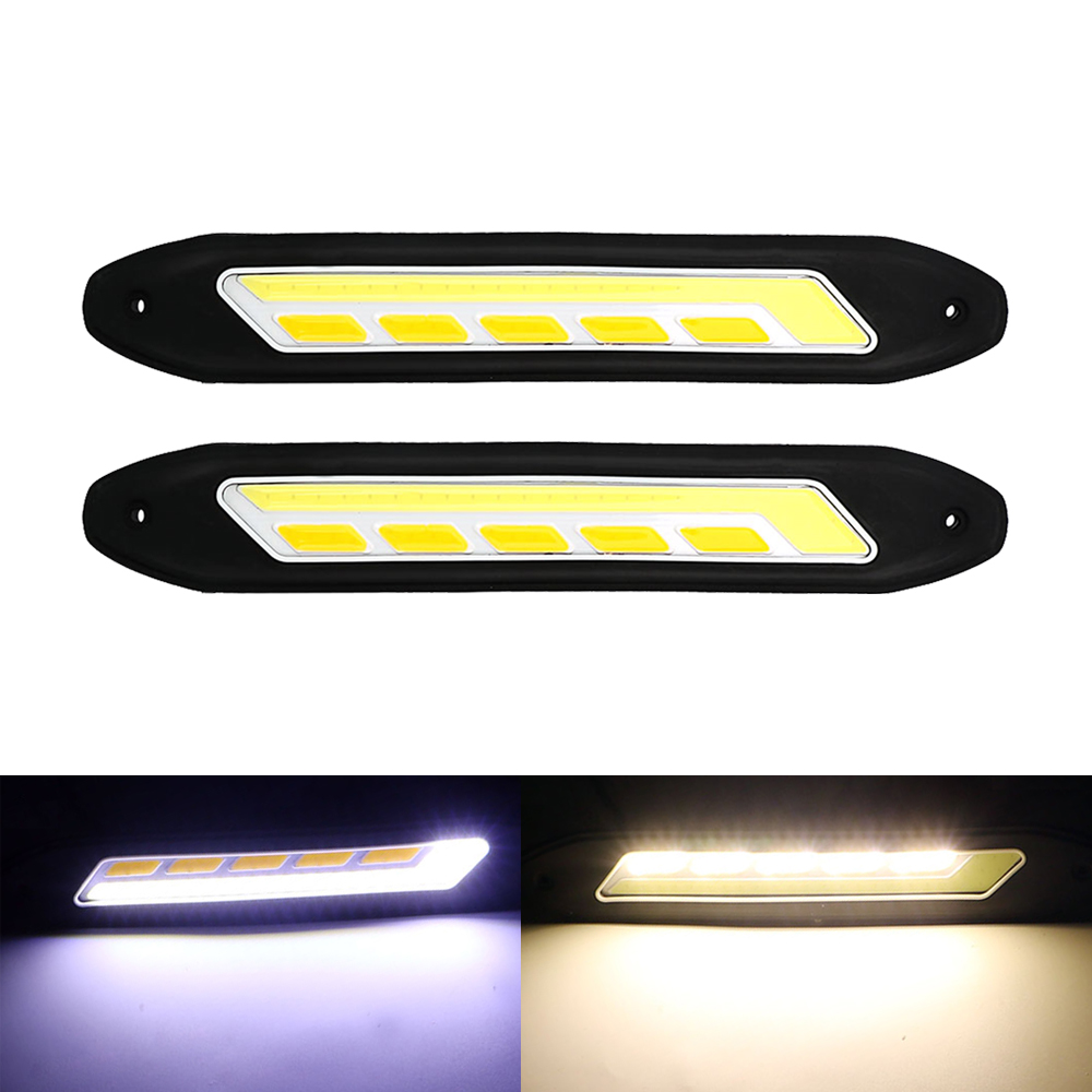 2PCS Car DRL and Turn Indicators COB LED Daytime Running Lights Turn Signal Light Auto Fog Lamps Car-styling Flexible Waterproof