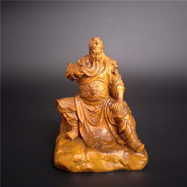 Wood sculpture Dynasty Warriors Guan Yu vintage craft home ...