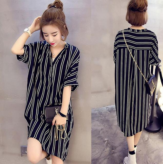 Pretty Girl Korean Striped Dress Big Sizes 5XL Loose-fitting Vestido Casual  Slim Cotton Dress Summer Dress EZ356 194da7faaf62