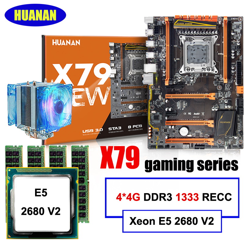 Hot selling HUANAN Deluxe gaming X79 <font><b>motherboard</b></font> set CPU Xeon E5 2680 V2 SR1A6 with CPU cooler RAM 16G(4*4G) DDR3 1333MHz RECC