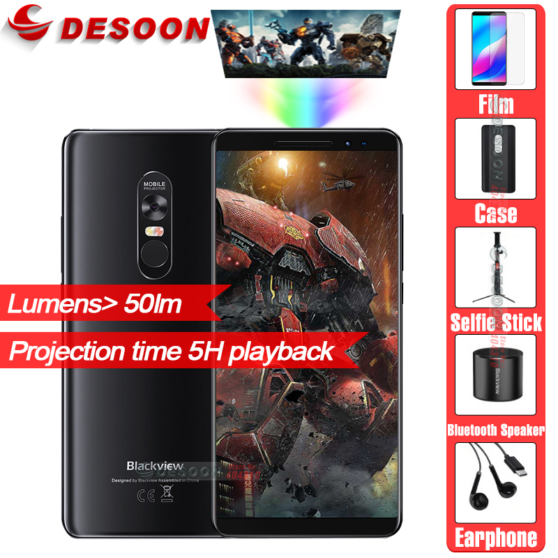 Blackview MAX 1 projector Mobile Phone 6.01 inch MT6763T 6GB 64GB 16.0MP+16MP 4680mAh 12v 2A Android 8.1 OS Smartphone