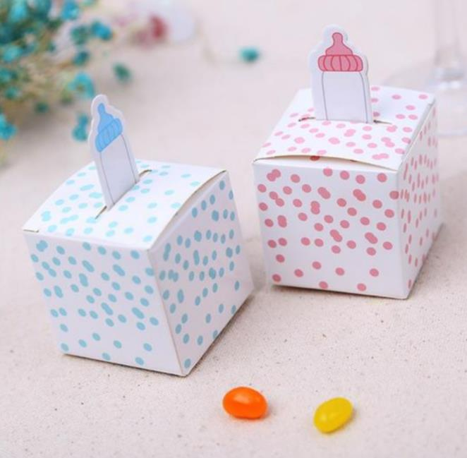 Wholesale 3000pcs/lot baby feeding bottle candy box Baby Shower Birthday Party Favors Candy Boxes chocolate cake gift wrap bag