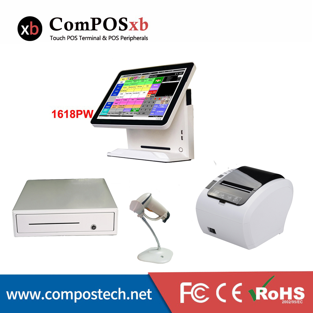 free shipping point of sale pos system double display pos terminal screen all in one epos system with printer cash box 15 lcd point of sale pos terminal android based all in one touch pos terminal