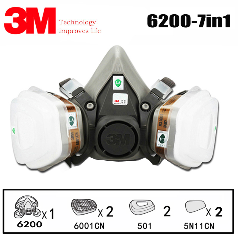 3M 6200 Half Face Gas Mask Respirator Chemical Respirator Mask With 6001 Filter Protect Organic Gas Painting Spraying Dust Mask