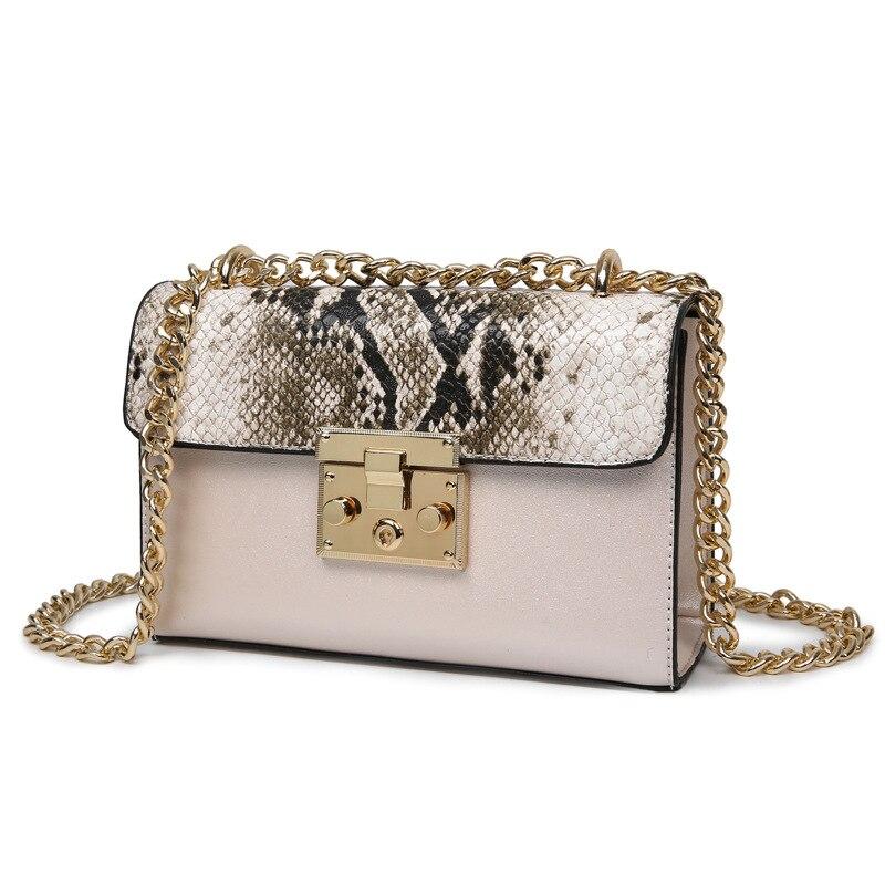 c6fc19dfa97 New spring and summer 2017 fashion handbags Women Messenger Bag Chain  Crossbody bags Snake PU leather
