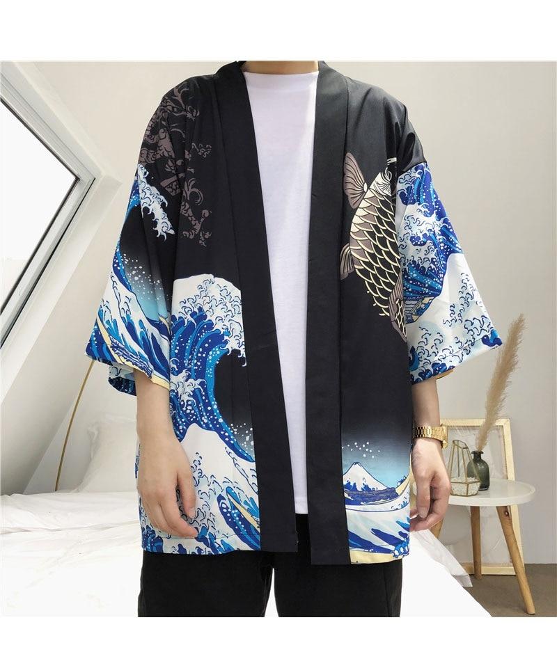 HTB1dbiGzBmWBuNkSndVq6AsApXaQ Zongke Japanese Kimono Cardigan Men Wave and Carp Print Long Kimono Cardigan Men Thin Mens Kimono Cardigan Jacket Coat 2018