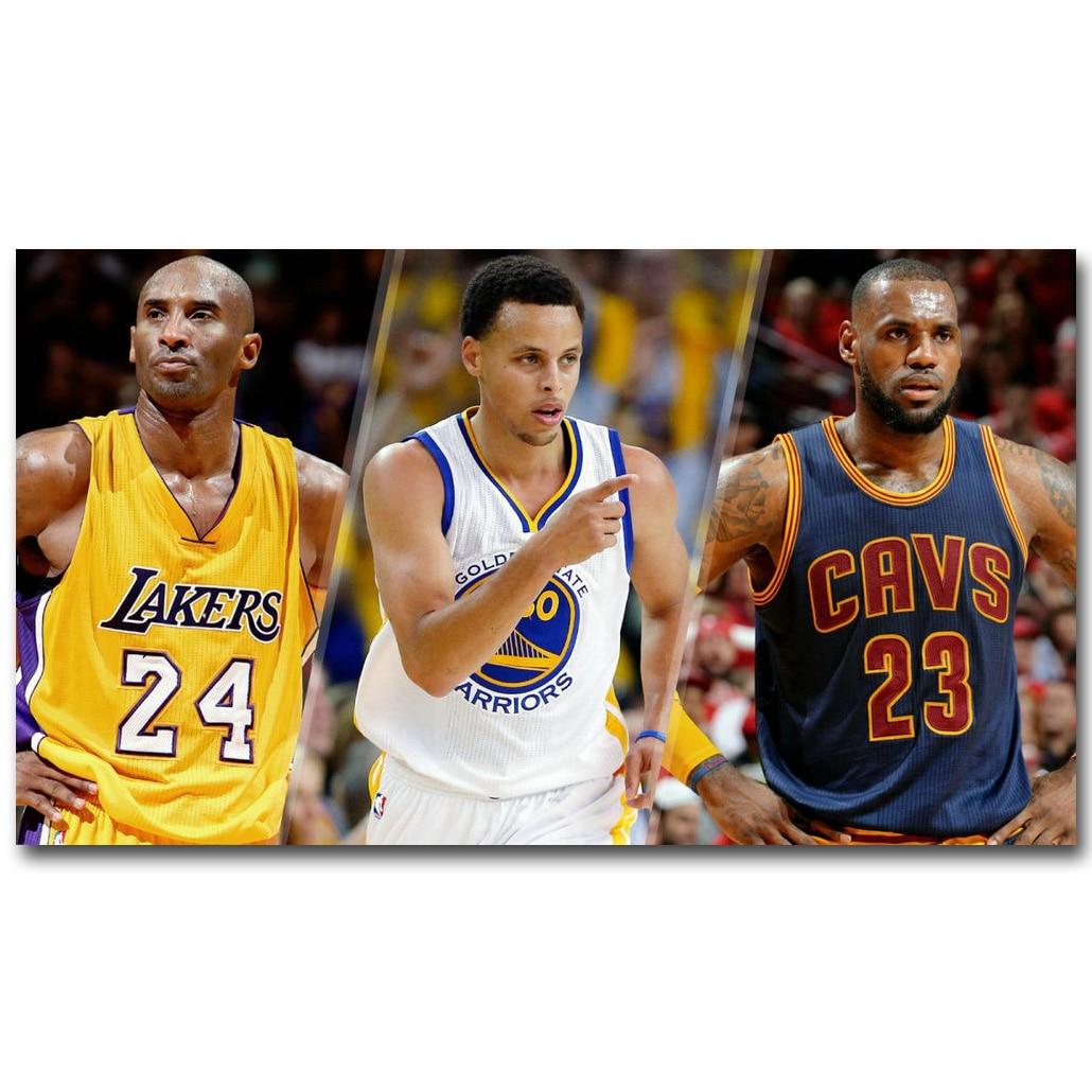 Баскетбольный мяч Stephen Curry Kobe bran LeBron James, художественный постер из шелковой ткани с принтом 13х24-дюймовой картины по спортивной тематике для декора стен комнаты 037