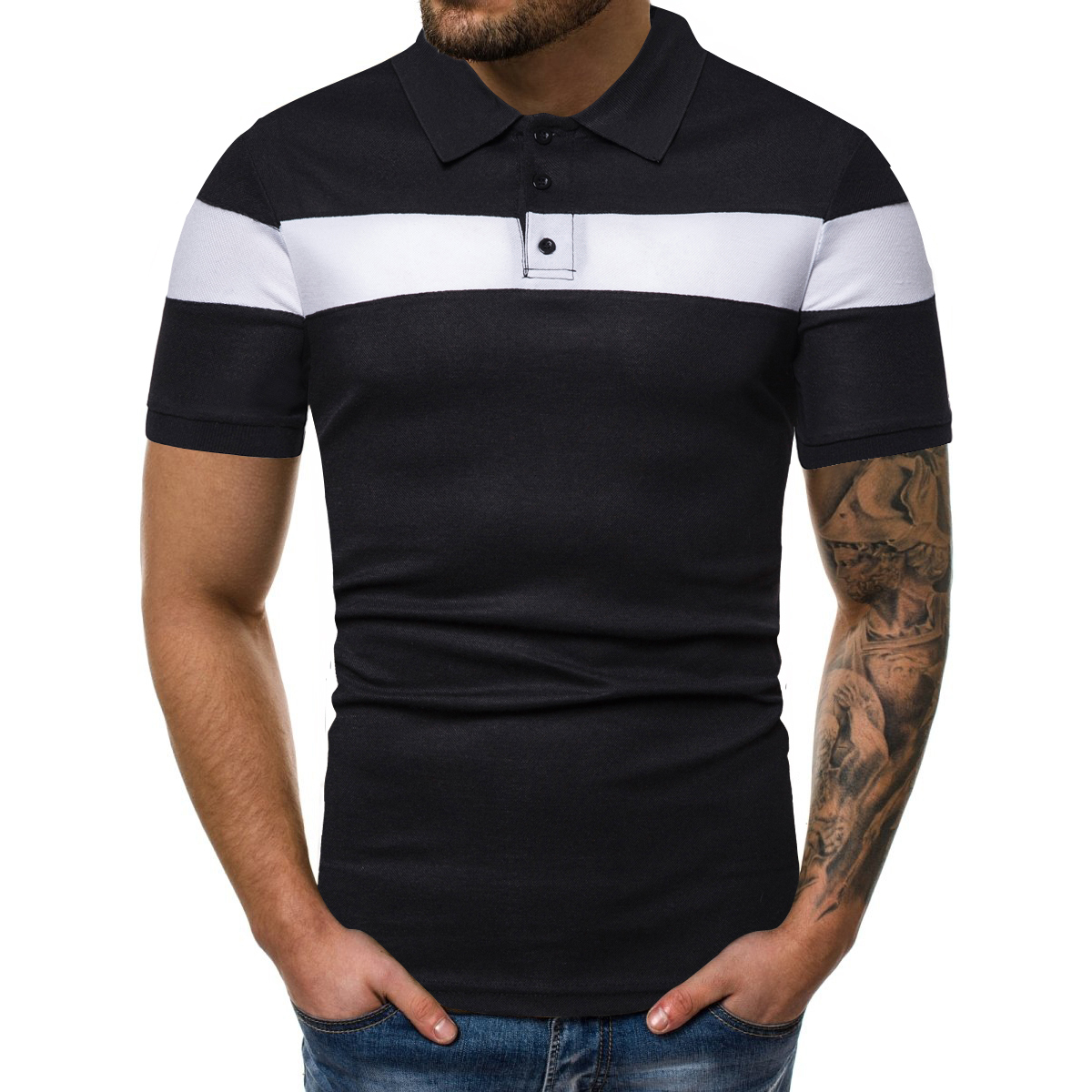 Lapel Breathable Men's Shirts Top With O Neckline Summer Short Sleeve Tee For Men Fashion Shirt Men Clothes S-XXL D30