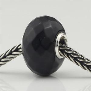 Image 4 - Abalorios de abalorios naturales negros facetados, auténticos abalorios de plata de ley 925 aptos para pulseras europeas, abalorios de moda para fabricación de joyas